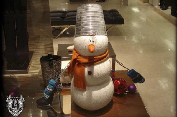 Снеговик сборный из пенопласта