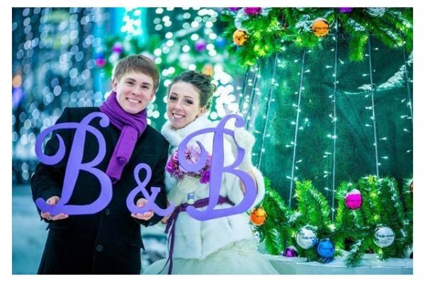 Инициалы  молодожёнов для фотосессии на свадьбу