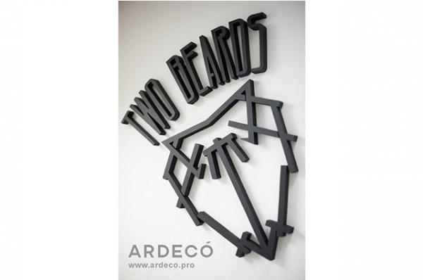 логотип в интерьер для магазина одежды two beards