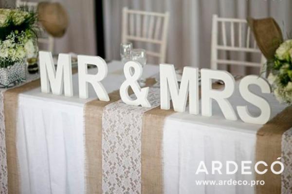 Объемные буквы для свадебного застолья